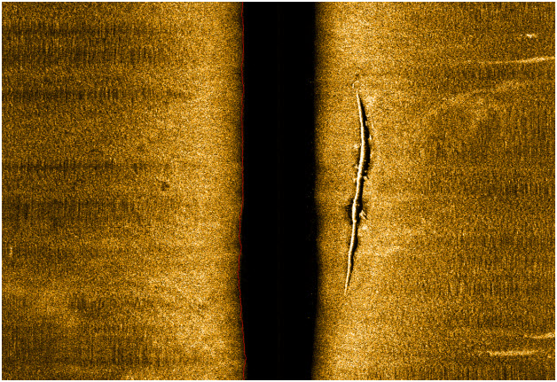 Side scan sonar of exposed pipeline