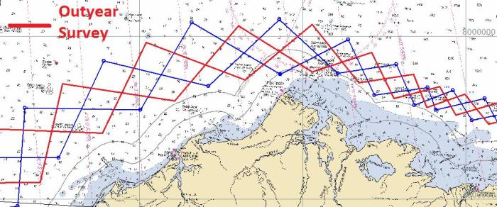argyle pattern of survey tracklines
