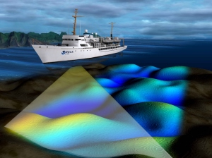 NOAA survey ship uses multibeam echo sounder