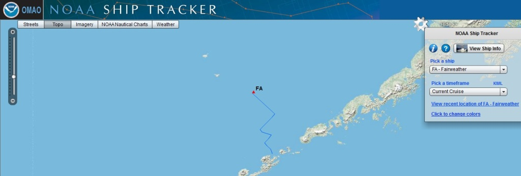 This is a screen grab of the Fairweather (FA) on NOAA ship tracker, the evening (EDT) of August 2