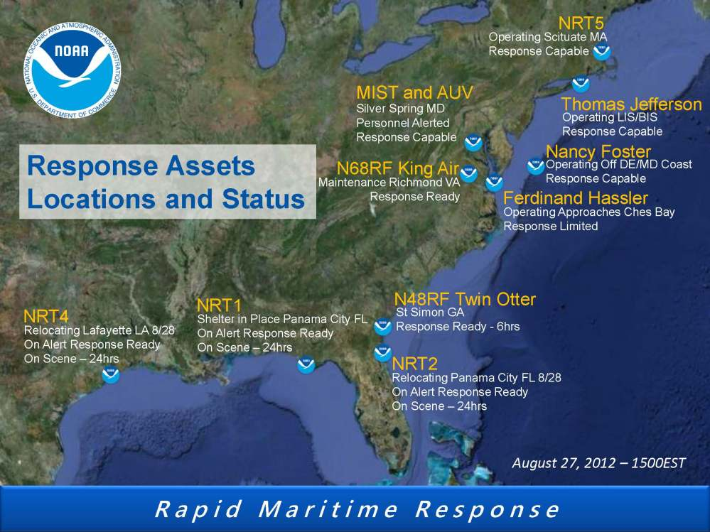 Coast Survey Response Assets for Isaac