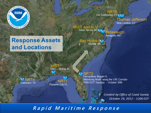 NOAA Coast Survey Response Assets and Locations 29Oct2012