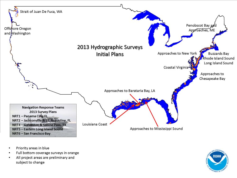 NOAA prelim 2013 survey plans - CONUS