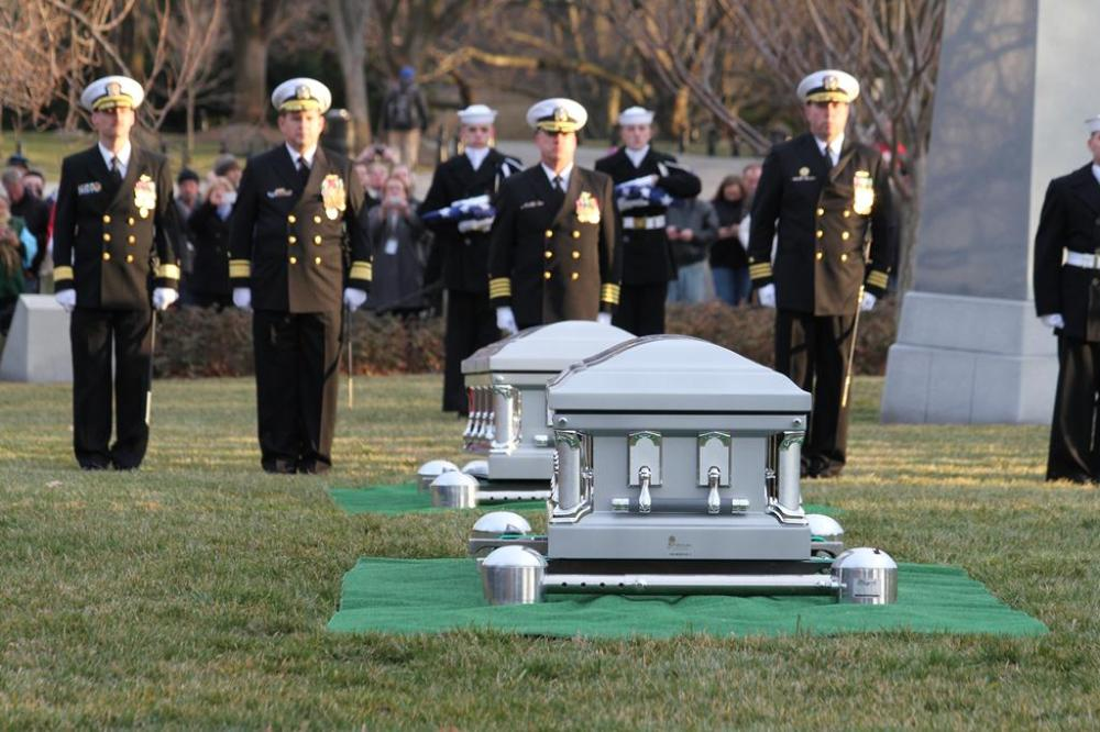 Escort officers and caskets