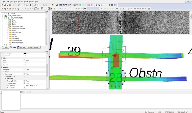 Screen grab of sonar images
