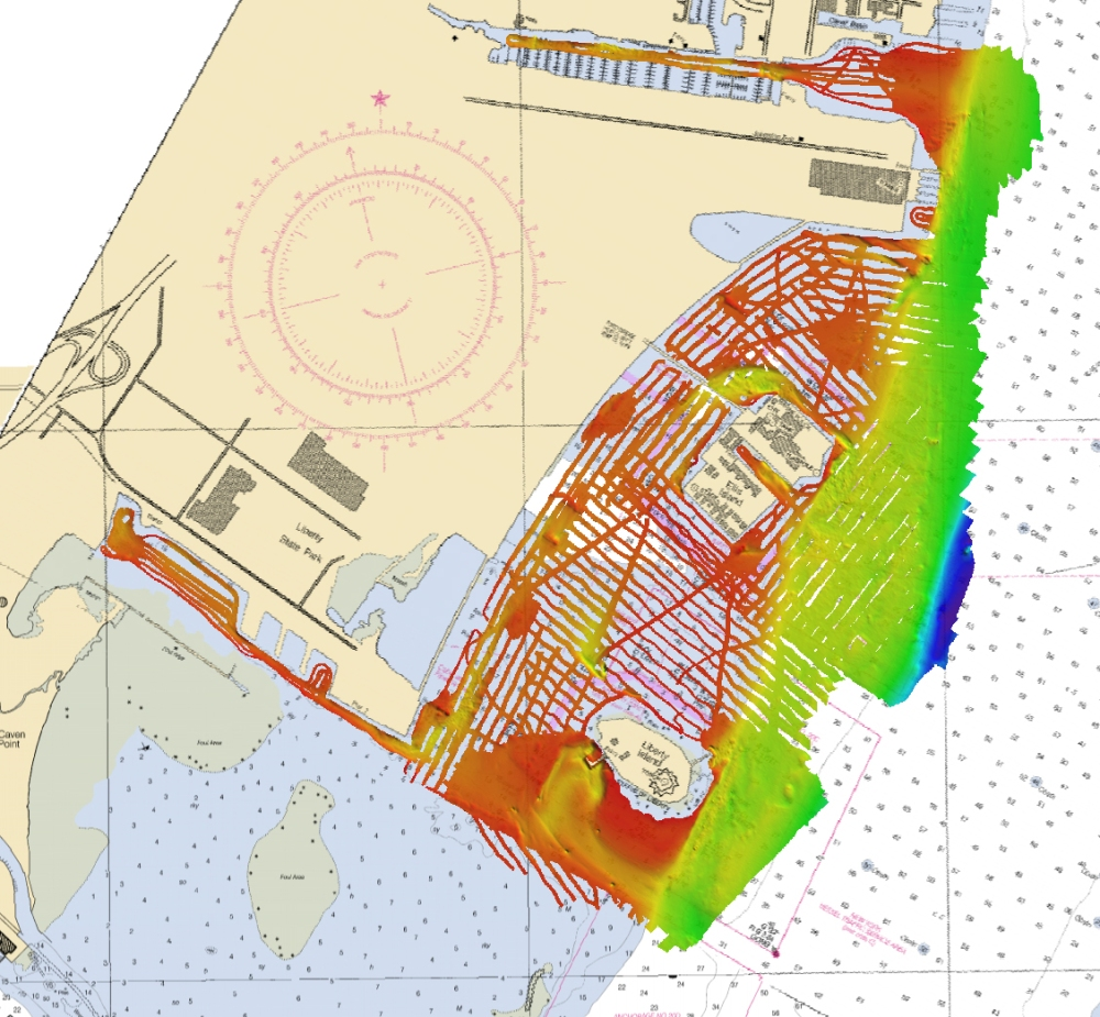 Graphic depiction of Navigation Response Team 5 surveys of Liberty Island and adjacent areas