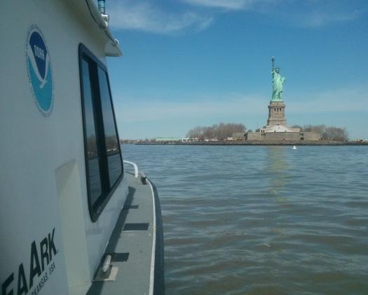 Coast Survey's Navigation Response Team 5 surveyed the waters surrounding Liberty Island, April 2013.
