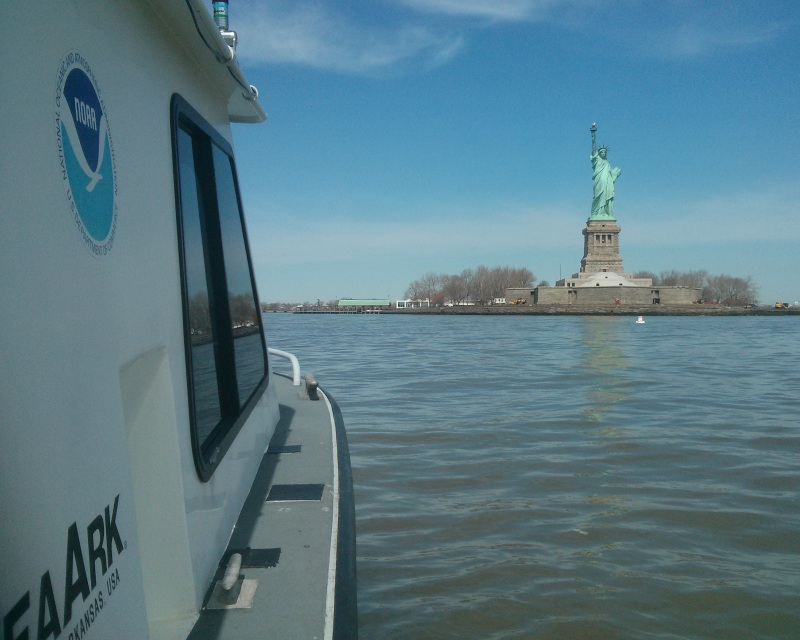 Coast Survey's Navigation Response Team 5 surveyed the waters surrounding Liberty Island, April 2013.