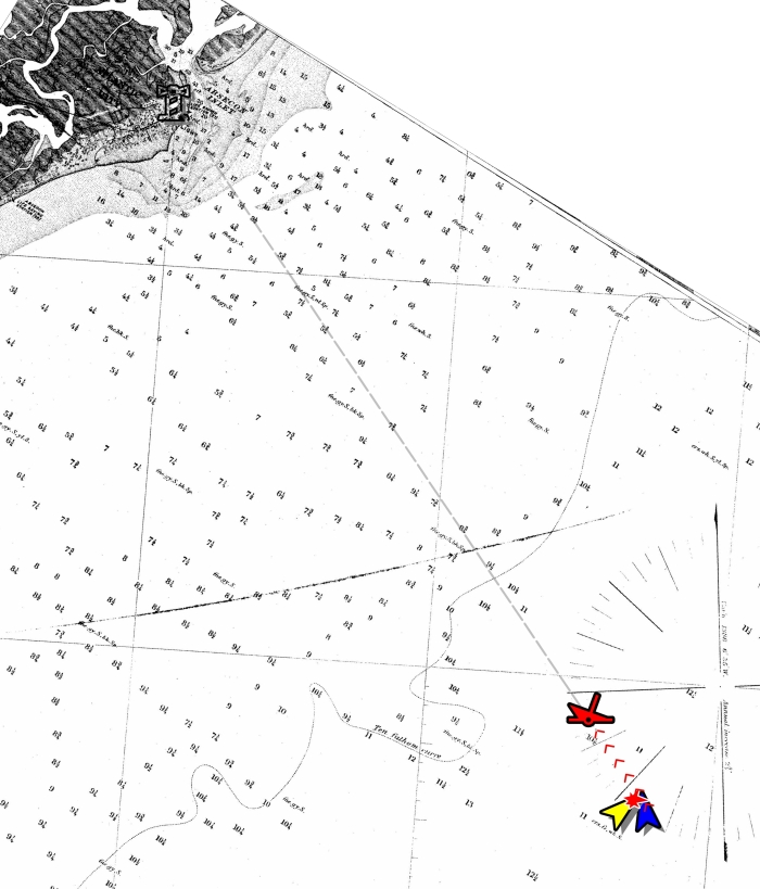 The site of the collision and location of the wreck is plotted on this nautical chart from 1852.