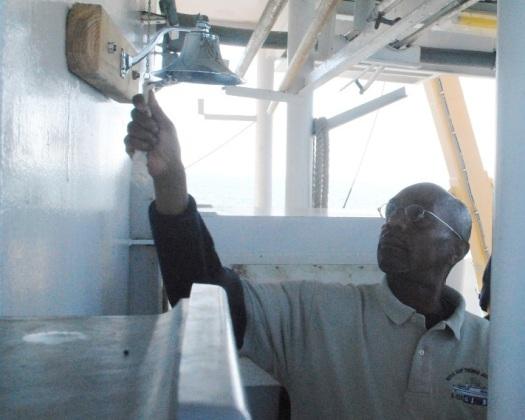 Teele rings ship's bell