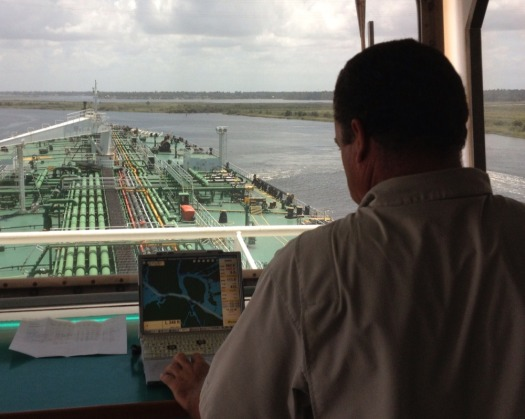 A Lake Charles pilot uses an ENC as they navigate the 300-foot wide Calcaseiu Channel. Photo by Tim Osborn.