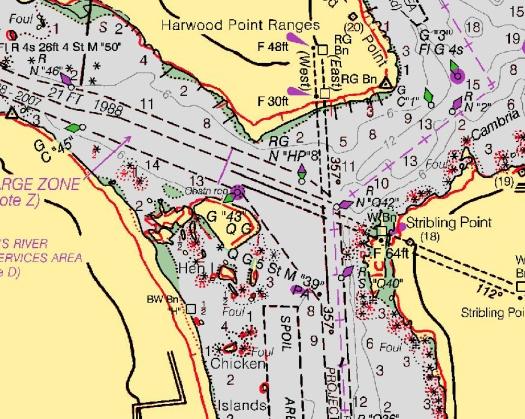 Corrected shoreline, chart 14883