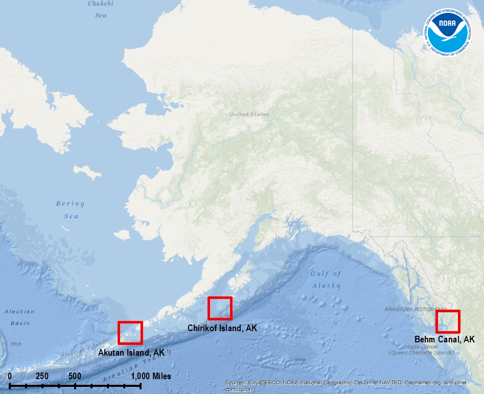 These three areas were surveyed by the NOAA Ship Rainier and surveying contractor Fugro-Pelagos during the 2013 field season.