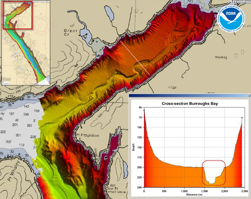 Multibeam bathymetry of the northeastern portion of the Behm Canal shows a large, meandering submarine river. The cross-sectional inset highlights the relief of the channel, nearly 50 m, as shown by the red box.
