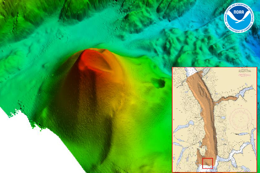 Multibeam data acquired by NOAA Ship Rainier shows a large volcanic feature in the southern portion of the Behm Canal.