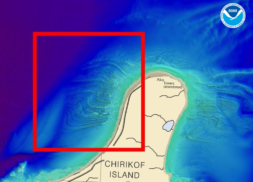 The red box outlines the northeast-trending fault along the coast of Chirikof Island, shown with bathymetry acquired by the Rainier.