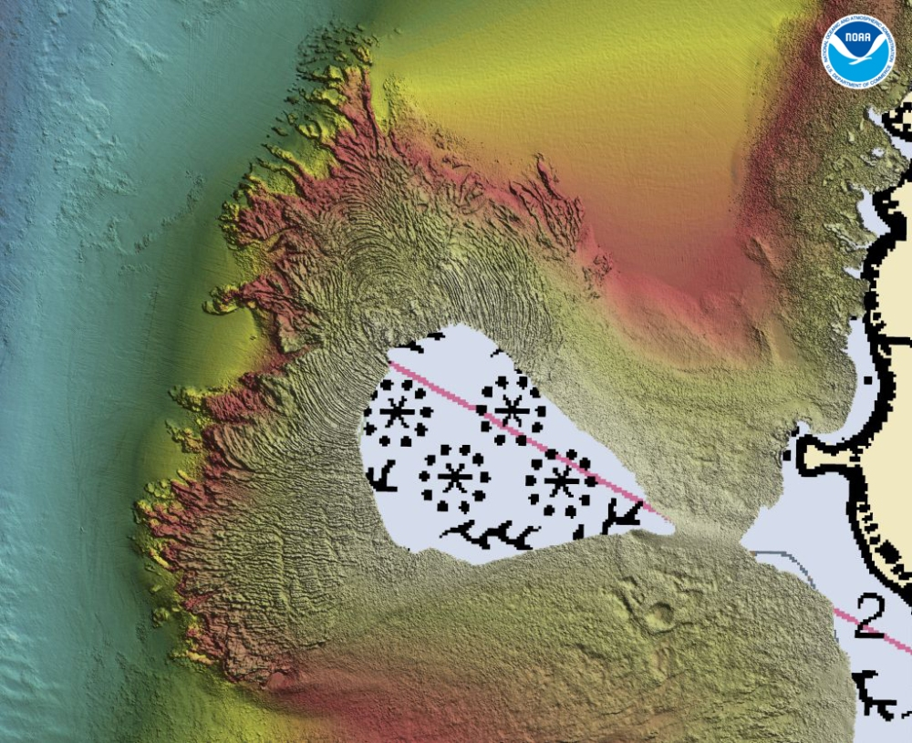 Multibeam bathymetry acquired by Fugro, around Akutan Island, shows a large volcanic vent or cinder cone volcano, marked by multiple circular rings that represent the successive lava flows that formed the volcano.