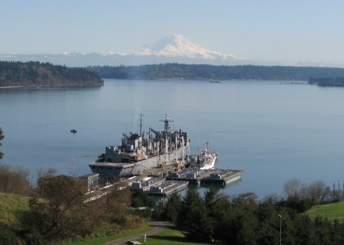 USNS Rainer and NOAA Ship Rainer, with Mount Rainier in the background. Photo compliments of NAVSUP-FLC Puget Sound.