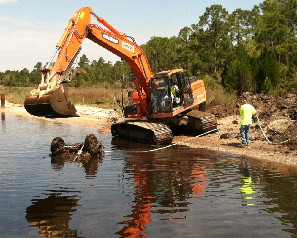 The Bay County Sheriff's office called in heavy equipment operators to remove the car found by NRT1.