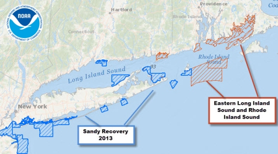 East coast hydrographic survey locations for NOAA's 2014 field season.
