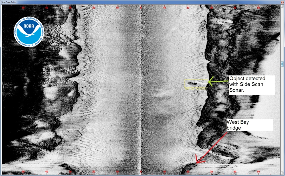 NRT 1's side scan sonar shows the car adjacent to the channel in West Bay Creek.