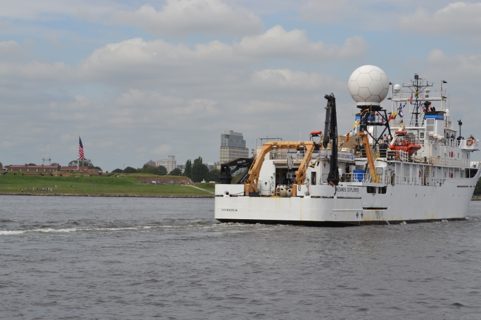 The view from NOAA R/V Bay Hydro II, as the NOAA Ship Okeanos Explorer passes historic Fort McHenry