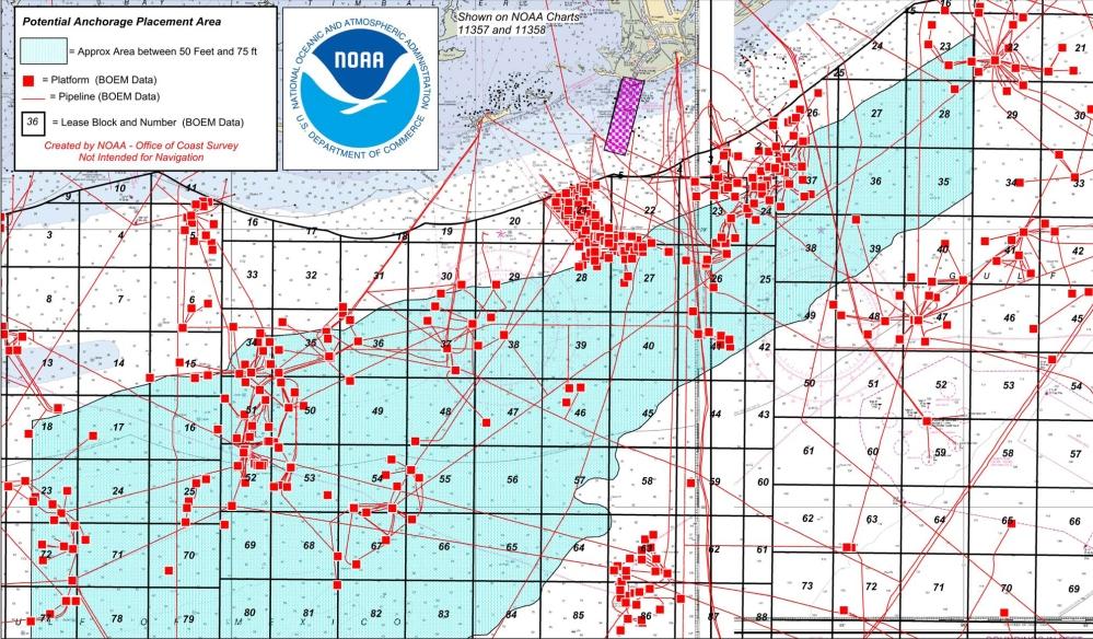 Port Fourchon potential anchorage areas
