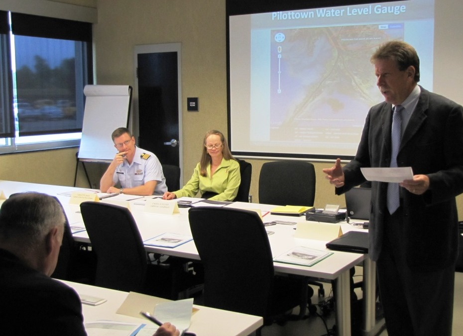 Navigation manager Tim Osborn presents info to U.S. Coast Guard New Orleans Sector and members of the Lower Mississippi River Waterway Safety Advisory Committee.  Tim works with these groups during hurricane and incident response events.