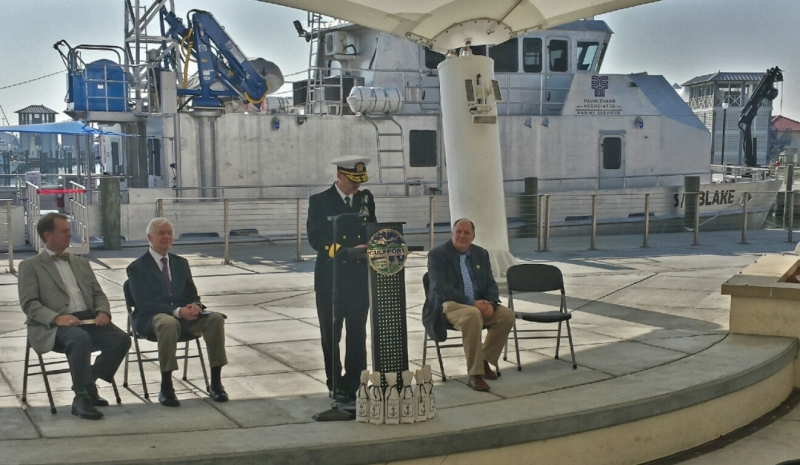 At the Blake's commissioning ceremony were (left to right) Mayor William Gardner Hewes, U.S. Senator Thad Cochran, Rear Admiral Gerd Glang, and Jon Dasler.