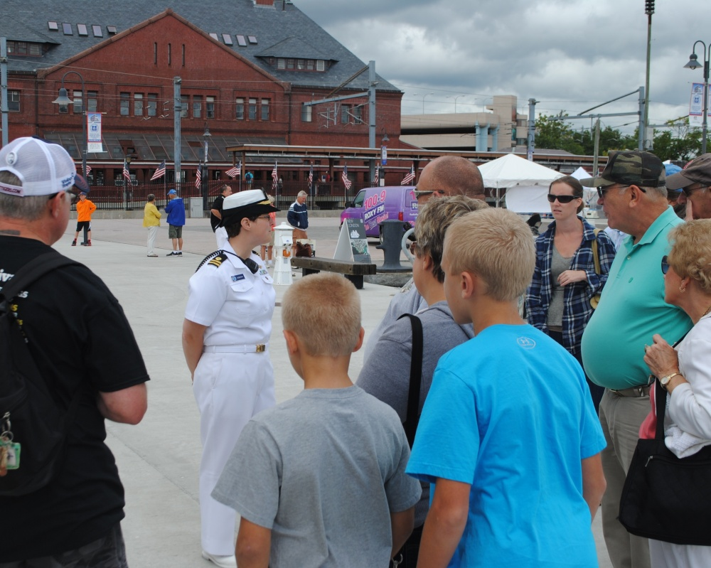 Lt. Guberski talks to tour group