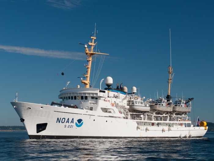 NOAA Ship Rainer with her launches aboard