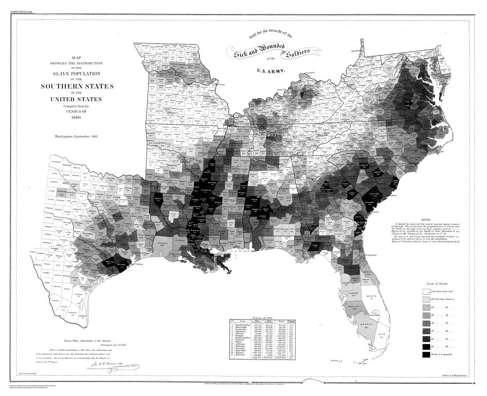 The men of Coast Survey created the map to help the public understand the secession crisis, by providing a visual link between secession and slavery.