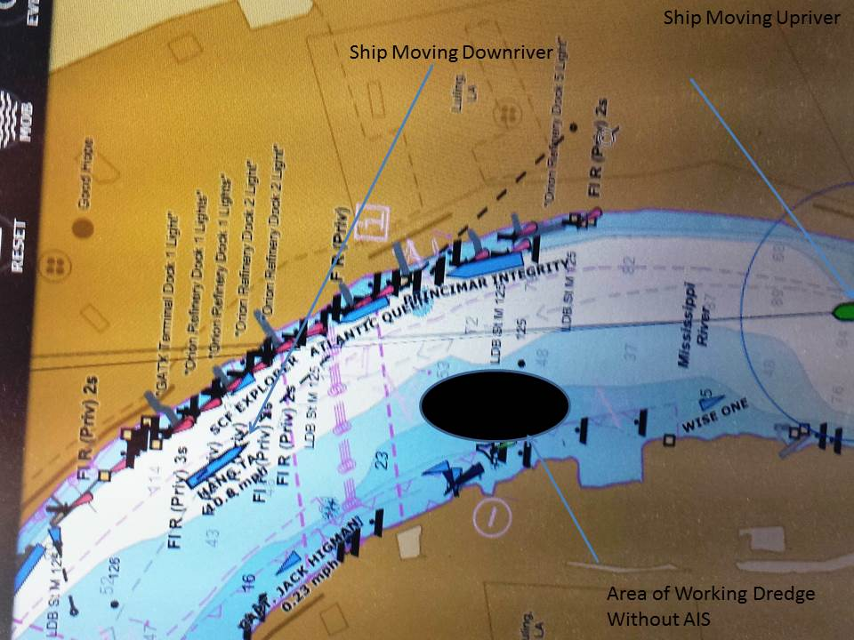 Without an AIS, dredging operations did not appear on navigation laptop. We clearly see two ships are transiting close to the operations.