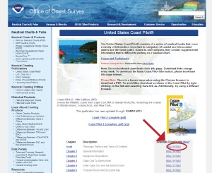 Access to the HTML version of Coast Pilot, where the geotags are located, can be found within each Coast Pilot Book webpage.  This image shows the location of the HTML link for Coast Pilot Book 2.