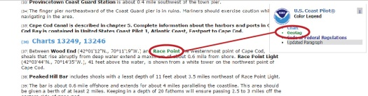 Portion of the HTML Coast Pilot chapter and geotagged features in bold green.