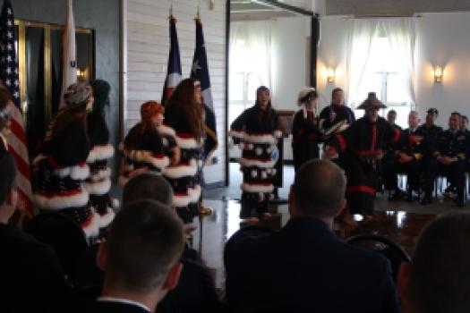 Kodiak Alutiiq Dancers performed during the deployment ceremony.