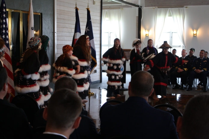Kodiak Alutiiq Dancers performed during the deployment ceremony.