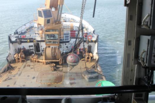 U.S. Coast Guard Ship Aspen successfully recovers lost mooring buoy.