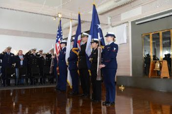Presentation of colors by a joint U.S. Coast Guard and NOAA color guard.