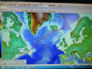Computer screen showing route from Newfoundland, Canada, to Glaway, Norway.