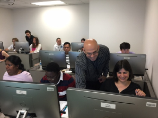 Students at computers.