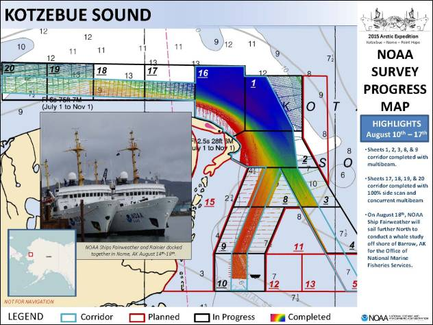 Chart of Kotzebue Sound, AK, with bathymetric data.