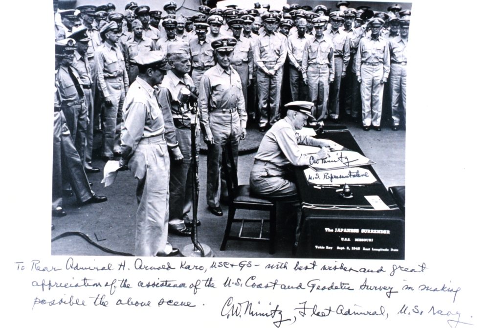 Adm. Nimitz inscribes photo, expresses appreciation for USC&GS contributions.