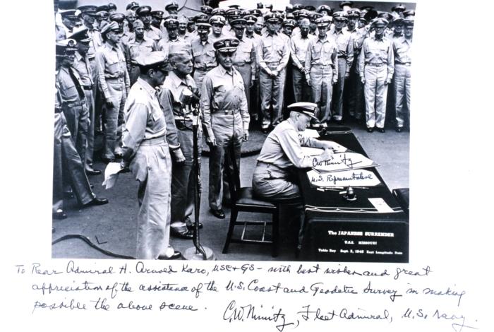 Adm. Nimitz inscribes photo, expresses appreciation for USC&GS contributions.