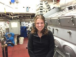 Valerie in the NOAA Ship Fairweather engine room.