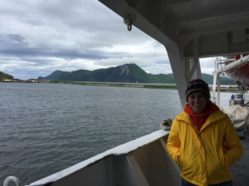 Valerie on board NOAA Ship Fairweather departing Dutch Harbor, Alaska.
