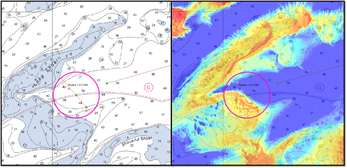 Side-by-side picture of the chart and SDB imagery for the intended anchorage location in Nantucket Sound. SDB imagery indicated a shoal that covered half of the anchorage safety circle. A Z-boat verified the indicated shoal was almost 30 ft shoaler than charted and without this useful imagery, the ship and launches could have run aground.