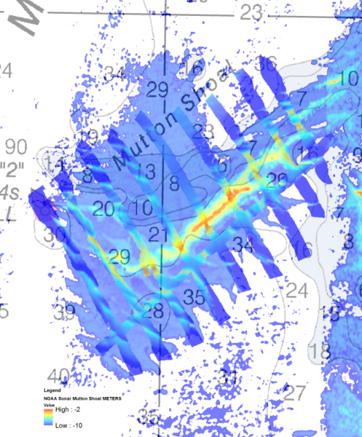 Satellite-derived bathymetry of Mutton Shoal with multibeam data from the investigation overlaid. This picture demonstrates how accurate the location of the shifted shoal was compared to the SDB imagery.
