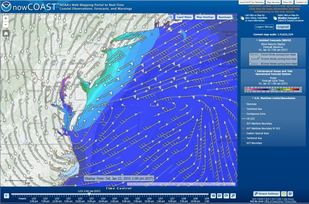 ESTOFS storm surge forecast guidance valid 2PM EST Jan. 23, overlaid with National Weather Service surface wind forecast (depicted using curved wind barbs)