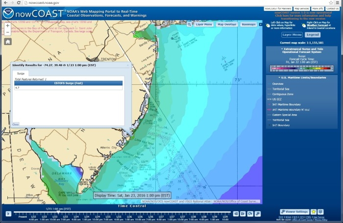 ESTOFS storm surge forecast guidance valid 1 p.m. EST Jan 23, for New Jersey coast, overlaid on NOAA's nautical chart